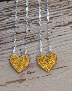 24ct Gold Leaf Heart Necklace