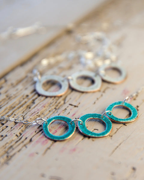 Triple Circle Enamel Necklace