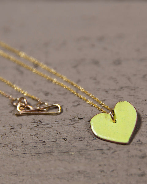 Enamel Heart Pendant on 14kt Gold Filled Chain