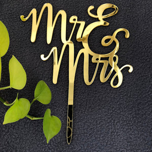 Mr & Mrs Acrylic Gold Mirror Wedding Cake Topper