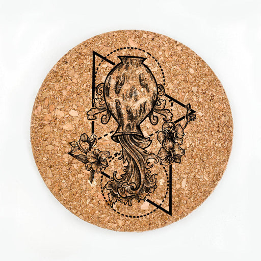 Aquarius Black Pot Coaster (Cork)