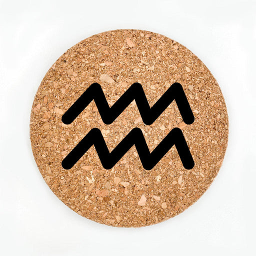 Aquarius Sign Pot Coaster (Cork)