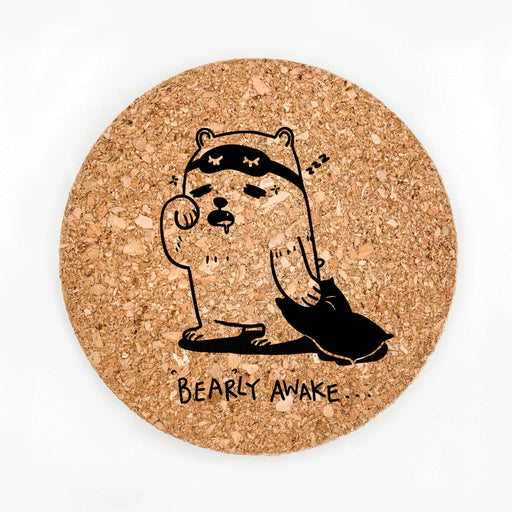 Bearly Awake Pot Coaster (Cork)