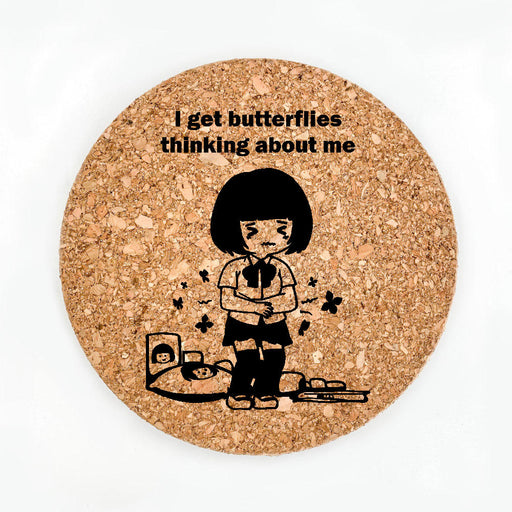 Butterflies Thinking About Me Pot Coaster (Cork)