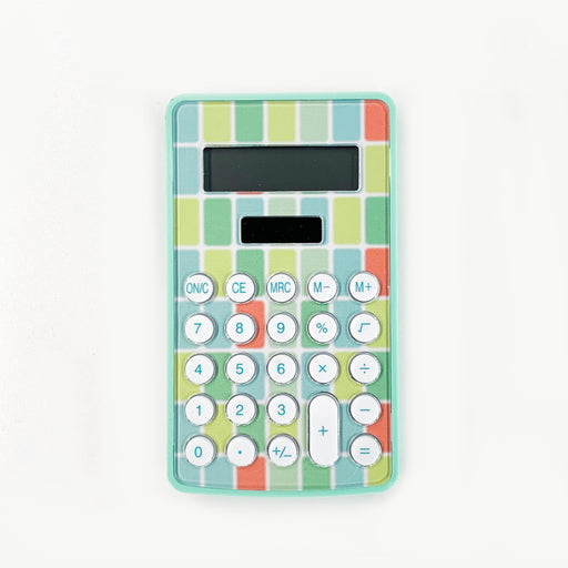 Green Solar-Powered Mini Calculator