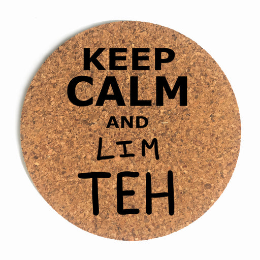 Keep Calm And Lim Teh Cup Coaster (Cork)
