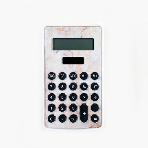 Marble-Textured Solar-Powered Mini Calculator