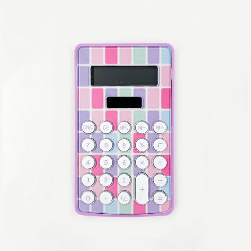 Pink Solar-Powered Mini Calculator