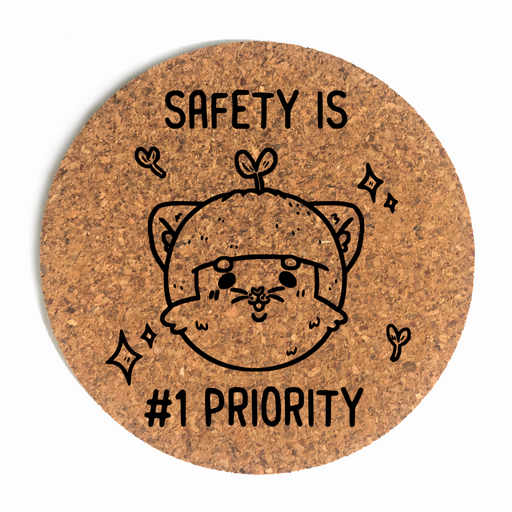 Safety Is #1 Priority Cat Cup Coaster (Cork)