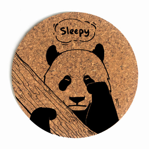 Sleepy Panda Cup Coaster (Cork)