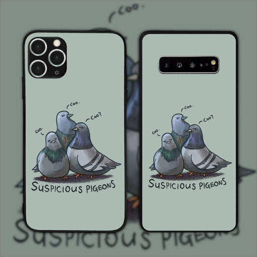 Suspicious Pigeons Green by Aziore Phone Case