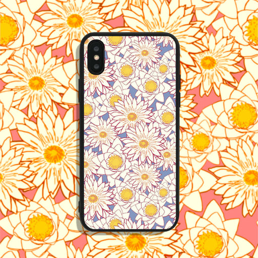 White Flowers on Blue Phone Case