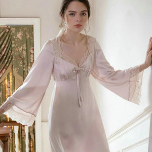 lace retro square collar pajamas dress