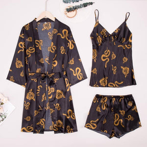 3PCS Snake Pattern Strap Shorts Set