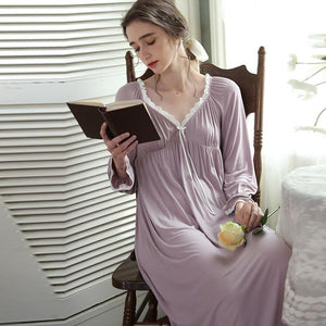 V-neck knitted cotton slim nightdress