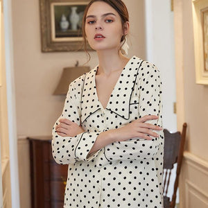 retro dots fashion silk home suit