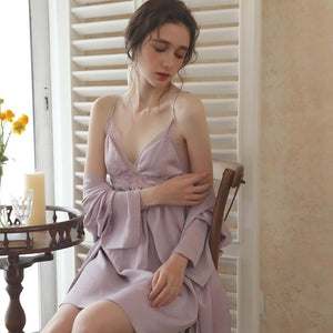 silk pajamas sexy hollow sling nightgown two-piece suit