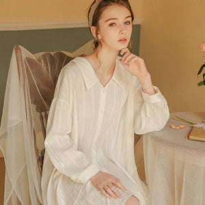 Oversized long-sleeved cotton shirt nightdress