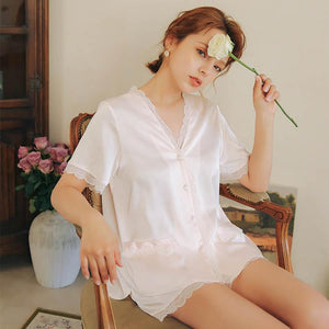 Silk V-neck solid color loose pajamas