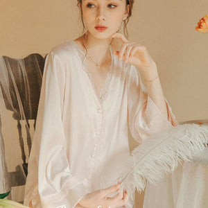 Silk casual long-sleeved pajamas