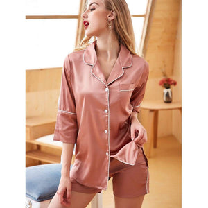 Silk Short Sleeve Pajamas Suit