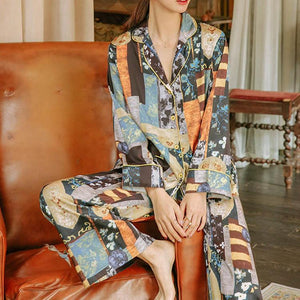 Silk new abstract pattern suit pajamas