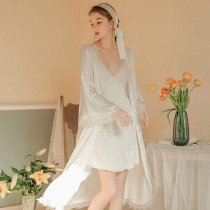Two-piece lace silk pajamas suspenders group pajamas