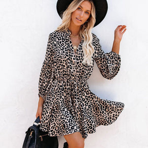 Leopard Print Lantern Sleeve Ruffle Long Sleeve Dress