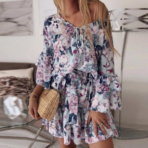 Sexy V-neck tie long-sleeved floral dress with ruffled hem