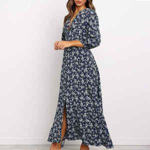 Retro small floral lantern long sleeve button high waist dress