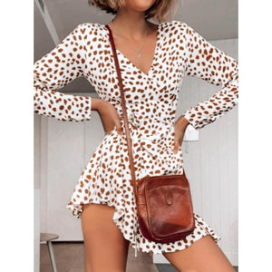 Fashion printed V-neck tie long sleeve dress