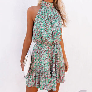 Floral print halterneck wooden ear dress
