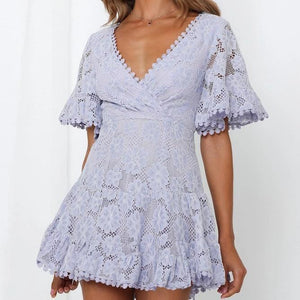 Fashion sexy lace stitching lace dress