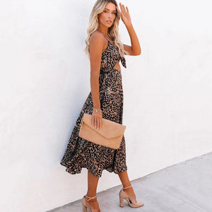Leopard print sexy strapless halter bow dress women