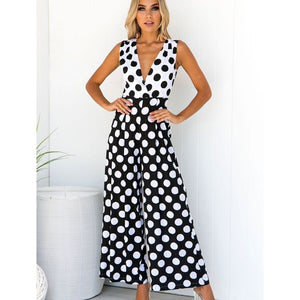 New v-neck sleeveless polka dot jumpsuit