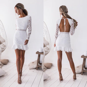 Open back hollow lace wrap hip dress
