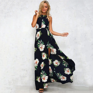 Fashion printed slit long skirt dress