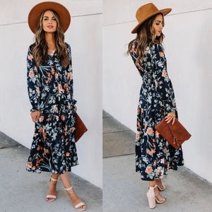 Skirt Print Mid-Waist French Long Sleeve V-Neck Dress