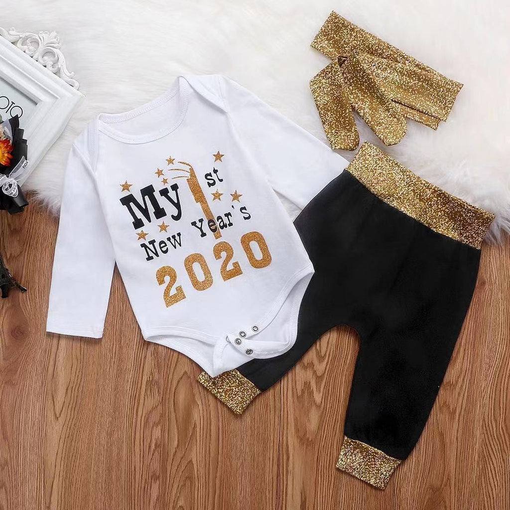 Luxury Baby New Year Bodysuit and Pants with Headband Set
