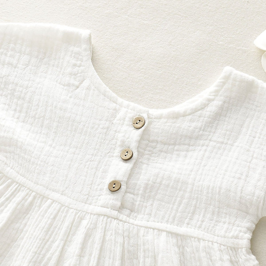Baby Linen Solid Top and Floral Shorts Set