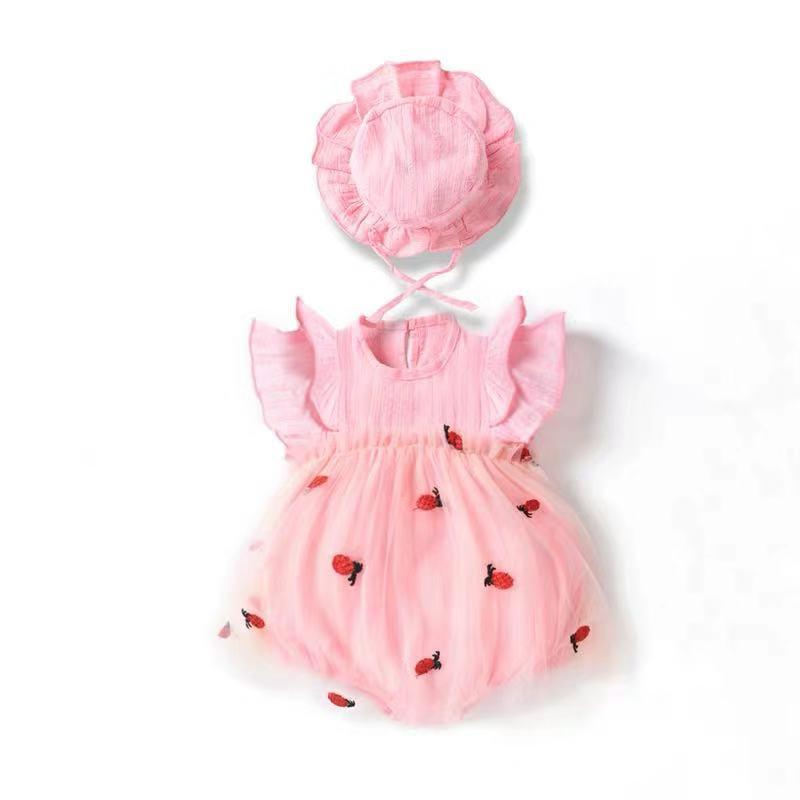 Baby Girl Pineapple Pattern Princess Lace Skirt + Hat Set