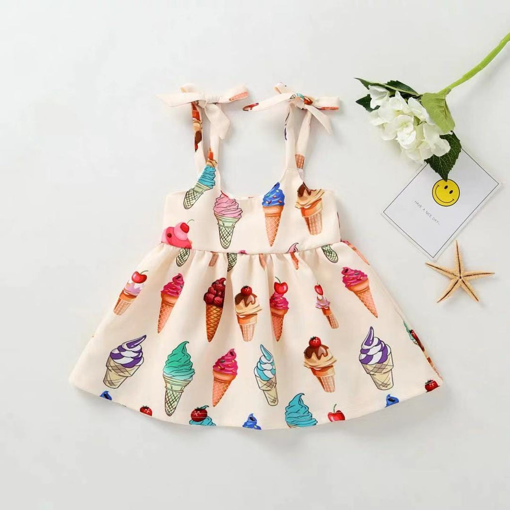 Toddler Girl Sleeveless Ice Cream Silk Dress