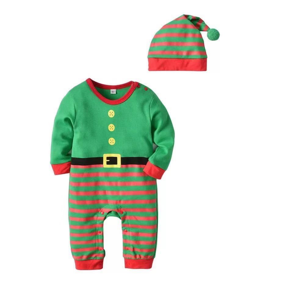 Long sleeve Christmas baby hooded jumpsuit