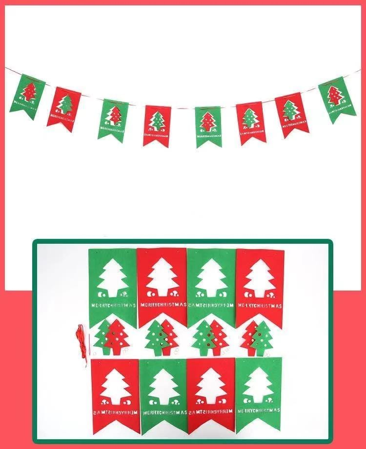 Merry Christmas Decorations Hollow Christmas Tree - Pull Flag