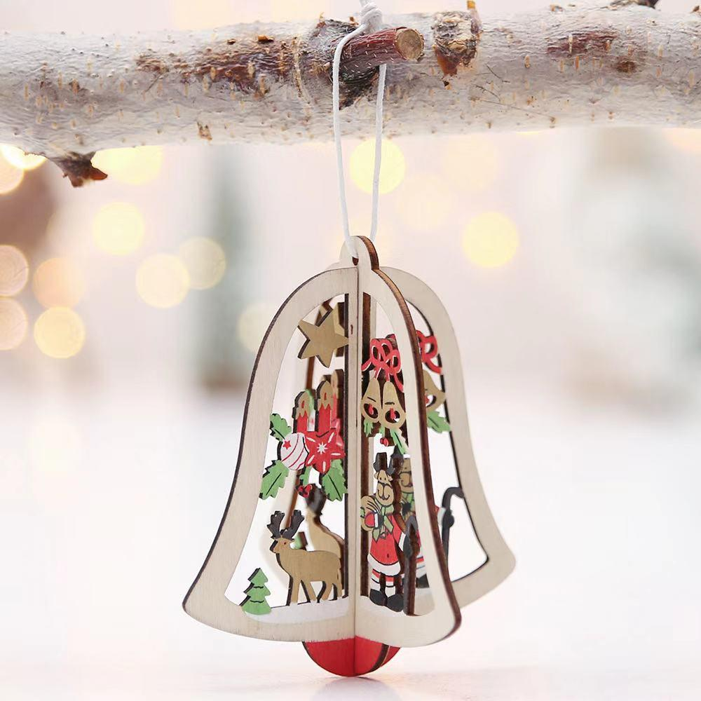 Christmas Decorations - Wooden Bells Christmas Tree Pendant- 3-piece set
