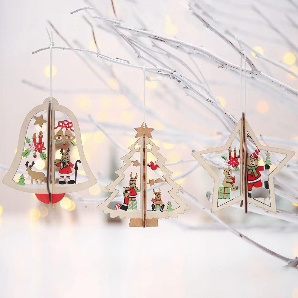 Christmas Decorations - Wooden Bells Christmas Tree Pendant
