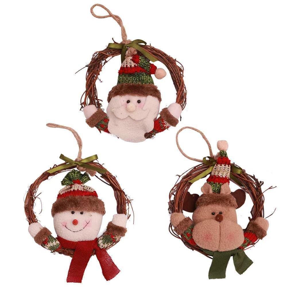 Christmas Decorations - Wreath Rattan Circle Christmas Tree Prop Hangers Wreath