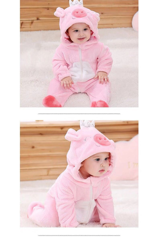 Baby Boy / Girl Pig and Cat Cartoon Animal Long Sleeve Flannel Jumpsuit