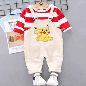 Toddler Boy / Girl Cartoon Pikachu Long Sleeve Cotton Top + Bib Pants