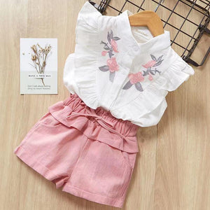Ruffle Floral Embroidery Shirt and Shorts Set